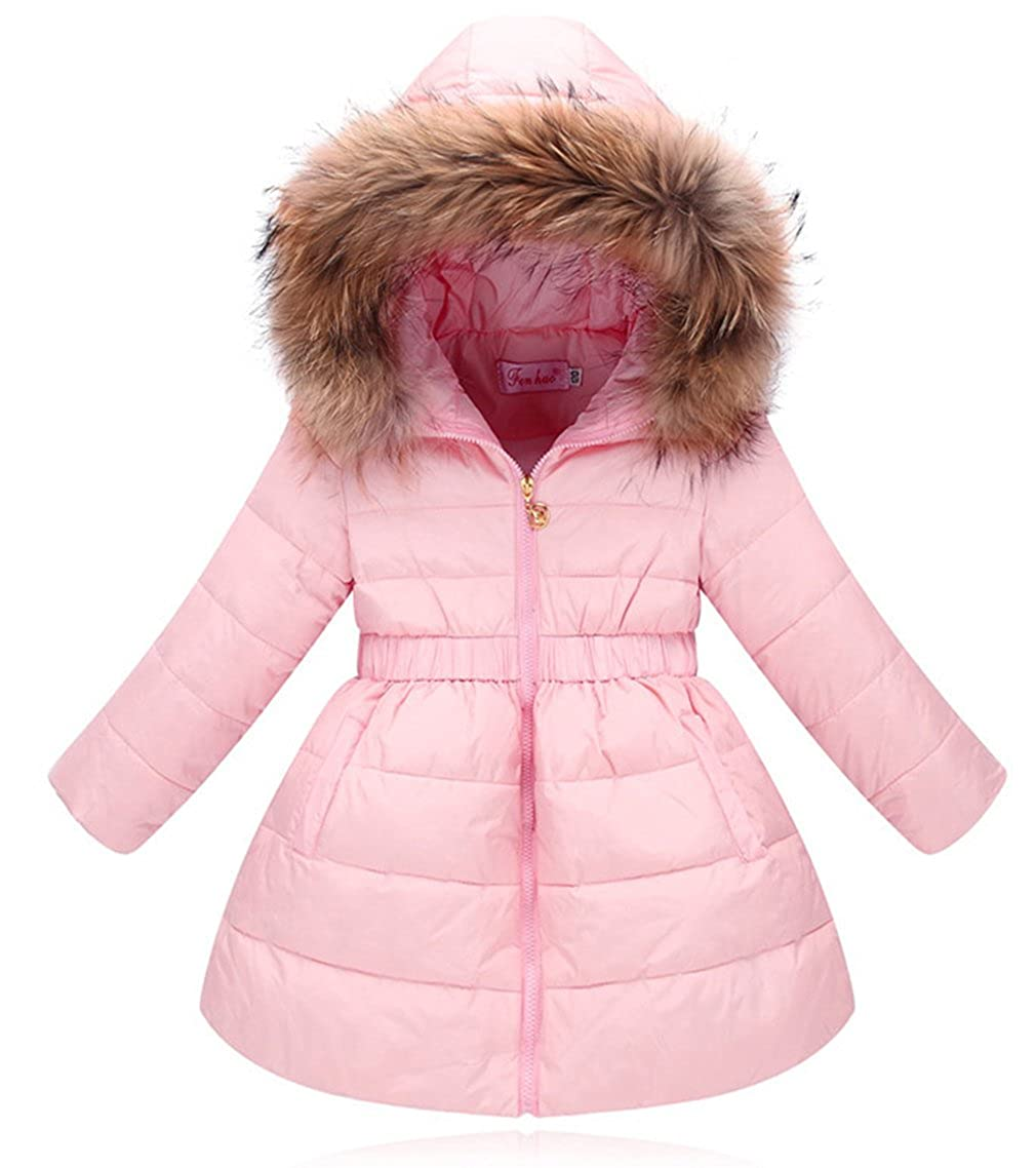 La Vogue Kid Girl's Winter Down Jacket Overcoat with Fur Hood Pink