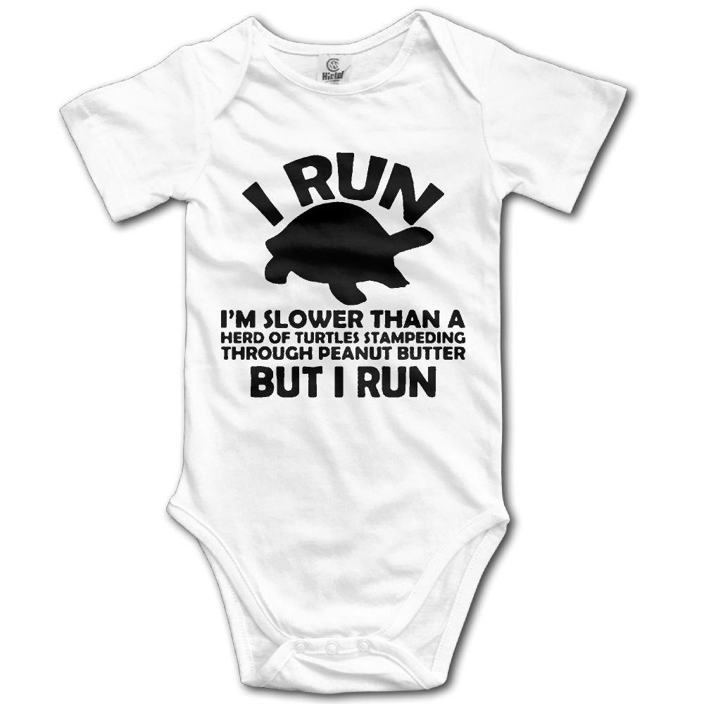 NEWBABY I Run Im Slower Than Herd Turtles Newborn Baby Short Sleeves Onesies For 0-24m Baby
