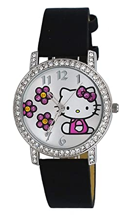 48b63439e Image Unavailable. Image not available for. Color: Hello Kitty HK1518  Women's Crystal Accented Bezel Silver Dial Black Strap Analog Watch