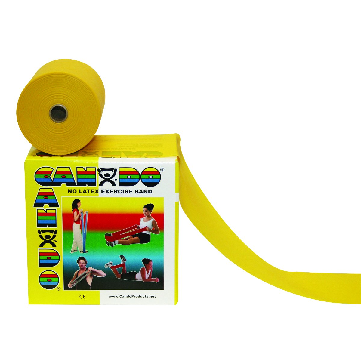 Cando 10-5621 Yellow Latex-Free Exercise Band, X-Light Resistance, 50 yd Length