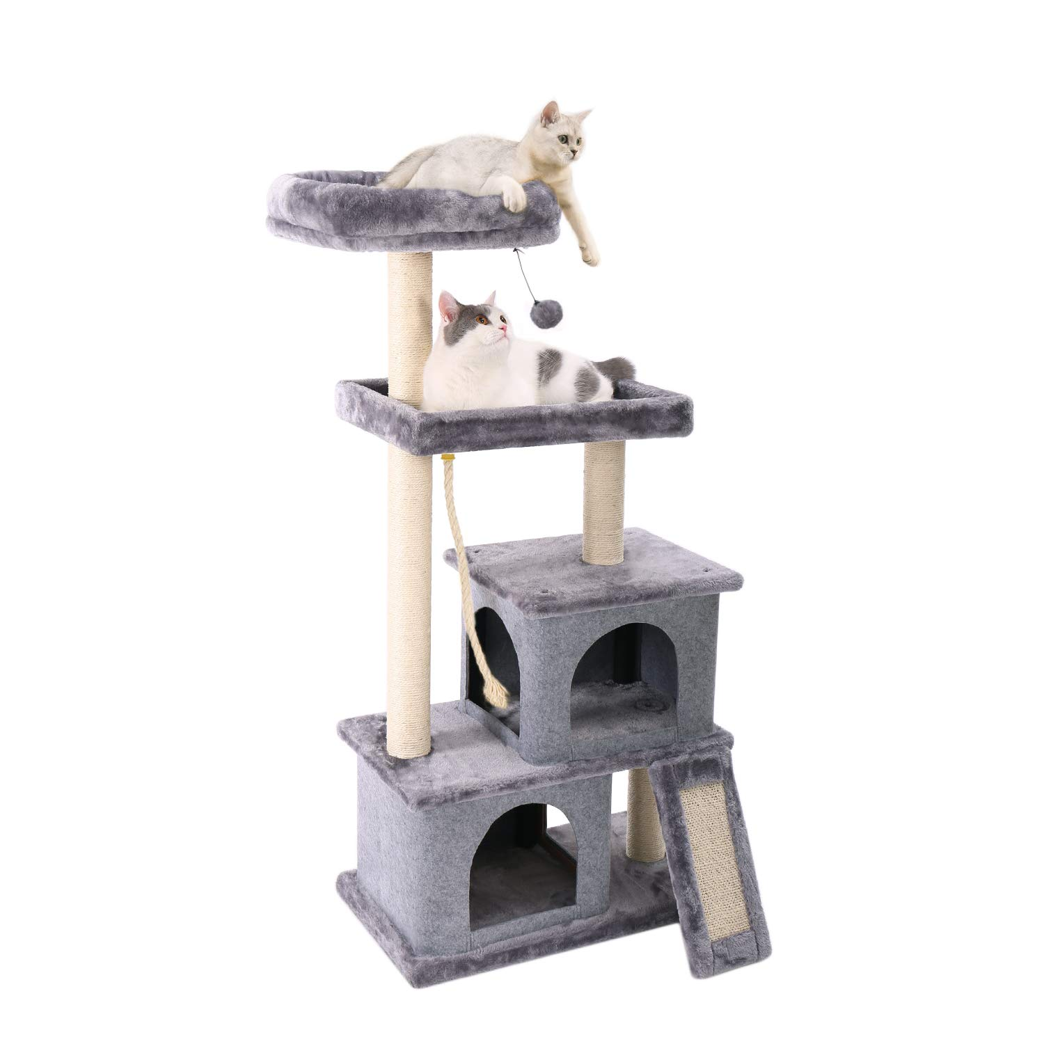PAWZ Road Cat Tree Multilevel and Luxury Cat Towers 50 Inches with 2 Condos, Spacious Perches, Scratching Post, Dangling Balls and Ramp by PAWZ Road