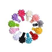 Fullkang 12pcs Baby Headbands Newborn Hair Bow Flower Hairband Hairdress