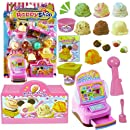 Ice Cream Shop Ready-to-Play Play Set 13 Piece Pretend Play Toy Cash Register Ice Cream Cone & Toppings Serving Counter Utensils & More