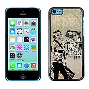 PC/Aluminum Funda Carcasa protectora para Apple Iphone 5C Greatness Motivational Quote Success Art Grafiti / JUSTGO PHONE PROTECTOR