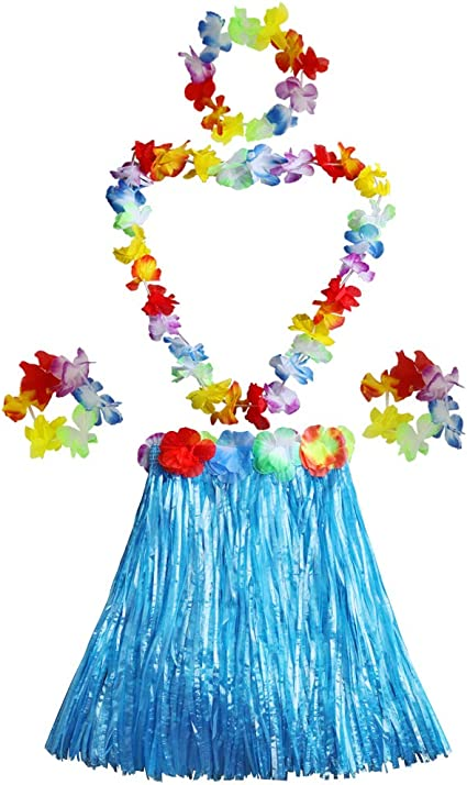 Multi-color Kids Elastic Hawaiian Hula Dancer Grass Skirt with Flower Costume Set