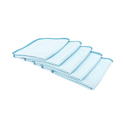The Rag Company (5-Pack) 16 in. x 16 in. Premium South Korean 70/30 Blend 400gsm Waffle-Weave Microfiber Detailing and Drying Towels: Automotive