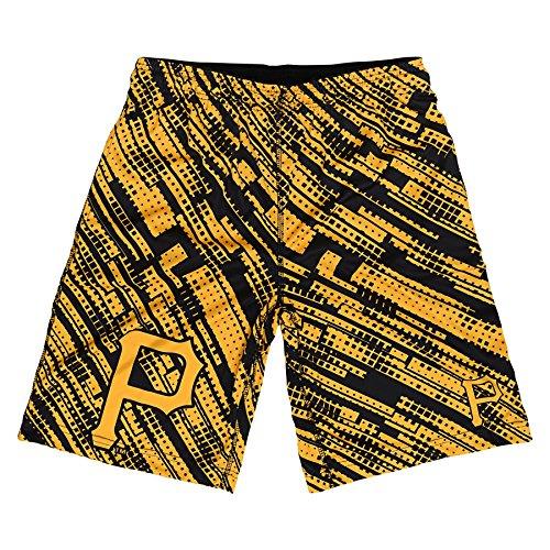 MLB Pittsburgh Pirates Youth Boys Printed Shorts, Yellow/Black, Large (14/16)