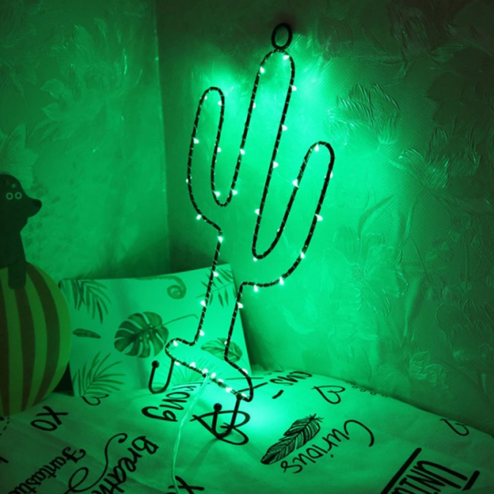 MyEasyShopping Party Decoration Window Picture 3D LED Table Night Light Green Light Cactus