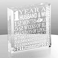 KATE POSH First, 1 Year as Husband and Wife Paperweight and Keepsake - Includes 2019 (Marriage Year) and 2020 (1st…