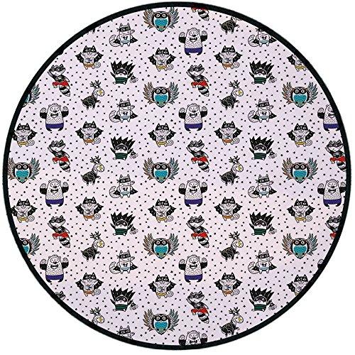 - Printing Round Rug,Superhero,Animal Owl Dear Fox Cat Penguin Raccoon Bear in Superhero Costumes Print Mat Non-Slip Soft Entrance Mat Door Floor Rug Area Rug For Chair Living Room,White Seal Brown