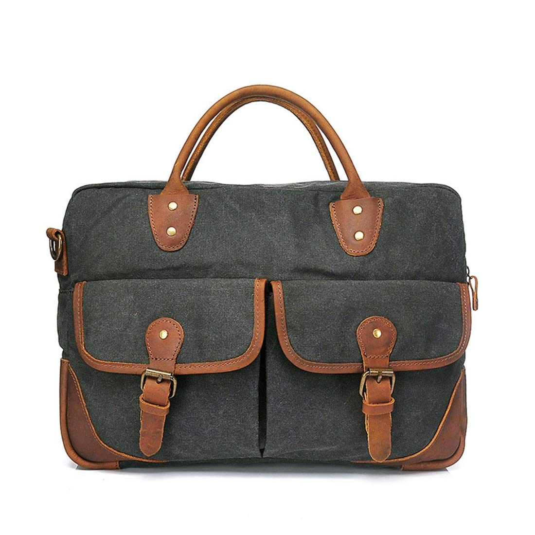 Carriemeow Simple Retro Zipper Briefcase Computer Bag Canvas Messenger Bag Shoulder Bag Color:Blue Color : Gray
