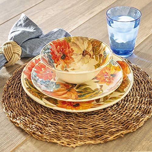Harvest 12-Piece Melamine Dinnerware Set - BPA-free Dishwasher Safe (Online Dinner Melamine Sets)