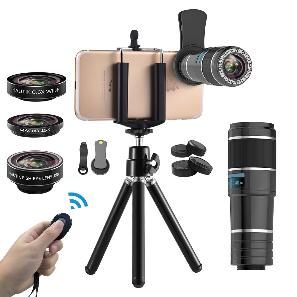 Vorida Smartphone Camera Lens 6 in 1 Cell Phone Camera Lens 12X Telephoto Lens + 198° Fisheye Lens+ 0.6X Wide Angle Lens+ 15X Macro Lens+ Tripod+ Remote Shutter Compatible for iPhone X 8 7 6 Plus, Samsung, etc. (12X SET) HK-0-26