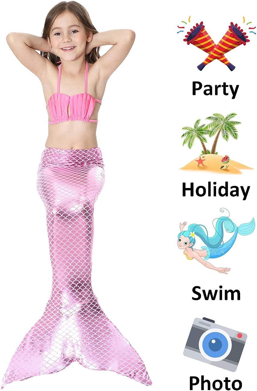 2017 Verano cola Nado Estilo sirena Ni/ña De Tres Conjuntos De Material C/ómodo Bikini hermosa corona de cortes/ía M(6-8Y), rosado