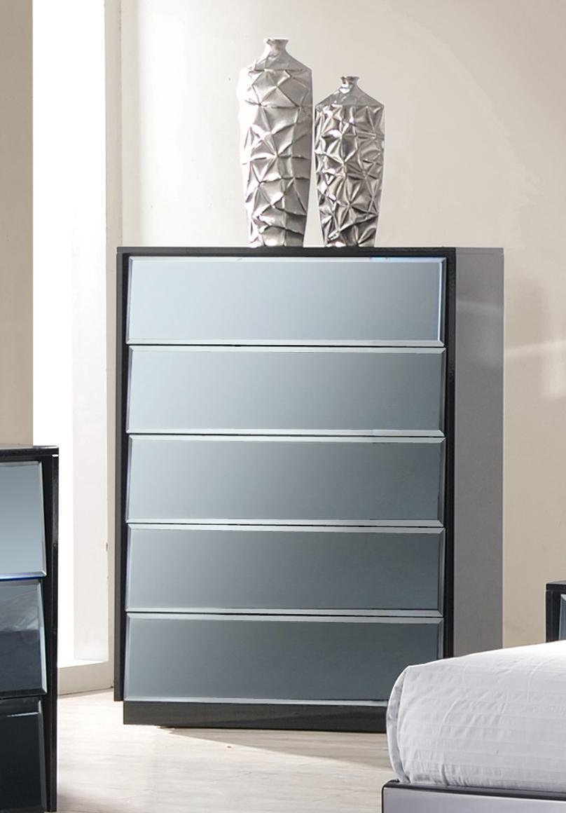 Chintaly Imports 5-Drawer Chest, Black/Mirror by Chintaly Imports