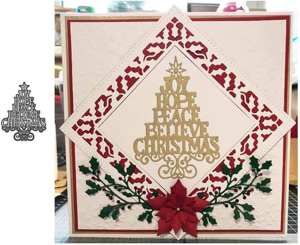Merry XMas Cutting Dies Background Metal Cutting Dies Stencils for Card Making Decorative Embossing Suit Paper Cards Stamp DIY