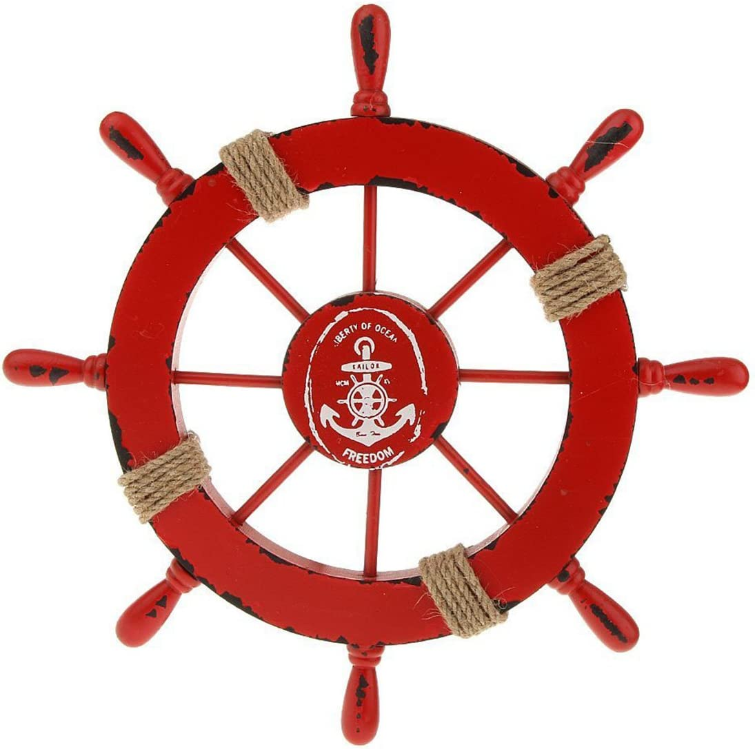 WINOMO Nautical Beach Wooden Boat Ship Steering Wheel Mediterranean Style Fishing Net Shell Home Wall Décor Double-Sail(Red)