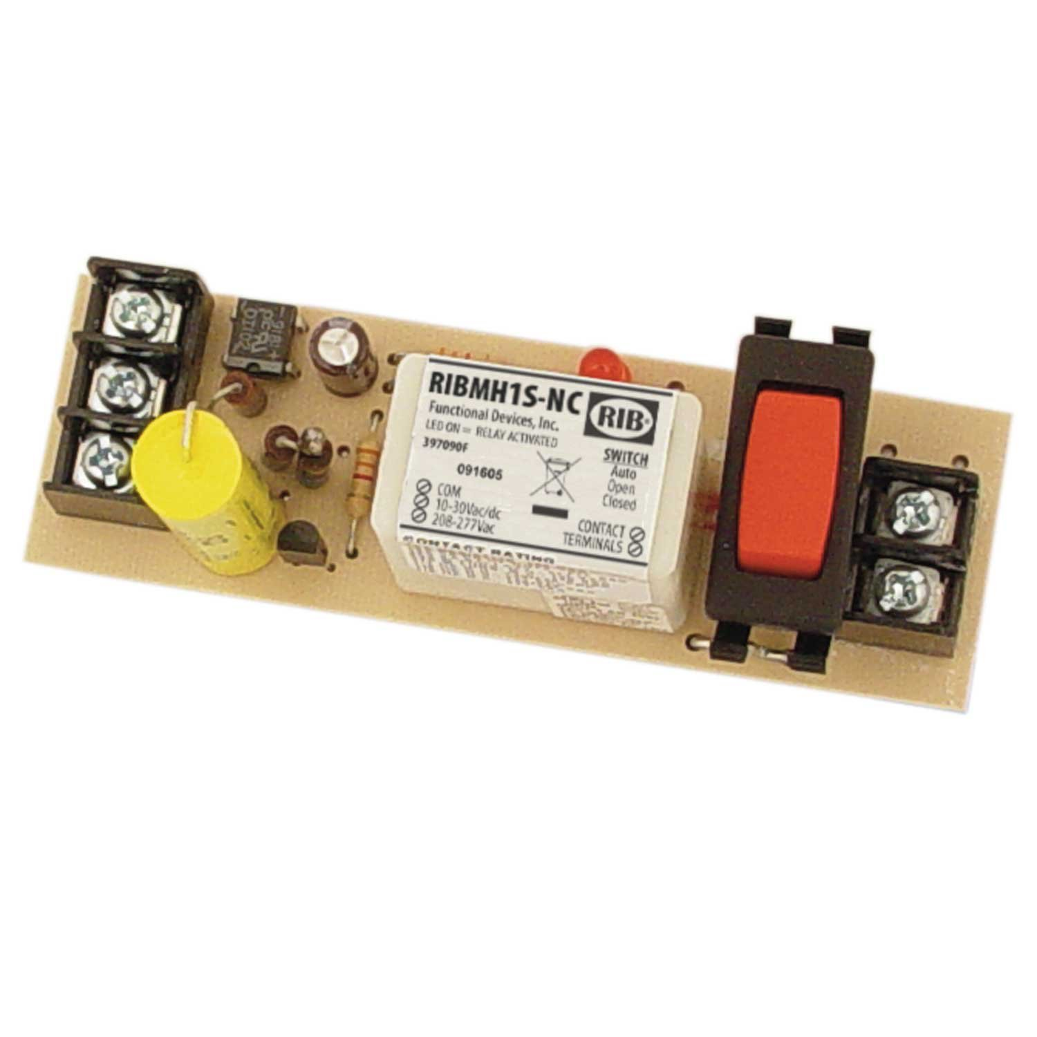 Panel Relay 4.000x1.275in 15Amp SPST-NC + Override 10-30Vac/dc/208-277Vac