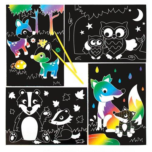 Baker Ross Dessins Animaux de la Forêt à gratter Parfaits pour Les Loisirs Créatifs et Les Décorations des Enfants (Lot DE 6)