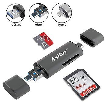 Amazon.com: Lector de tarjetas tipo C USB C Asltoy lector de ...
