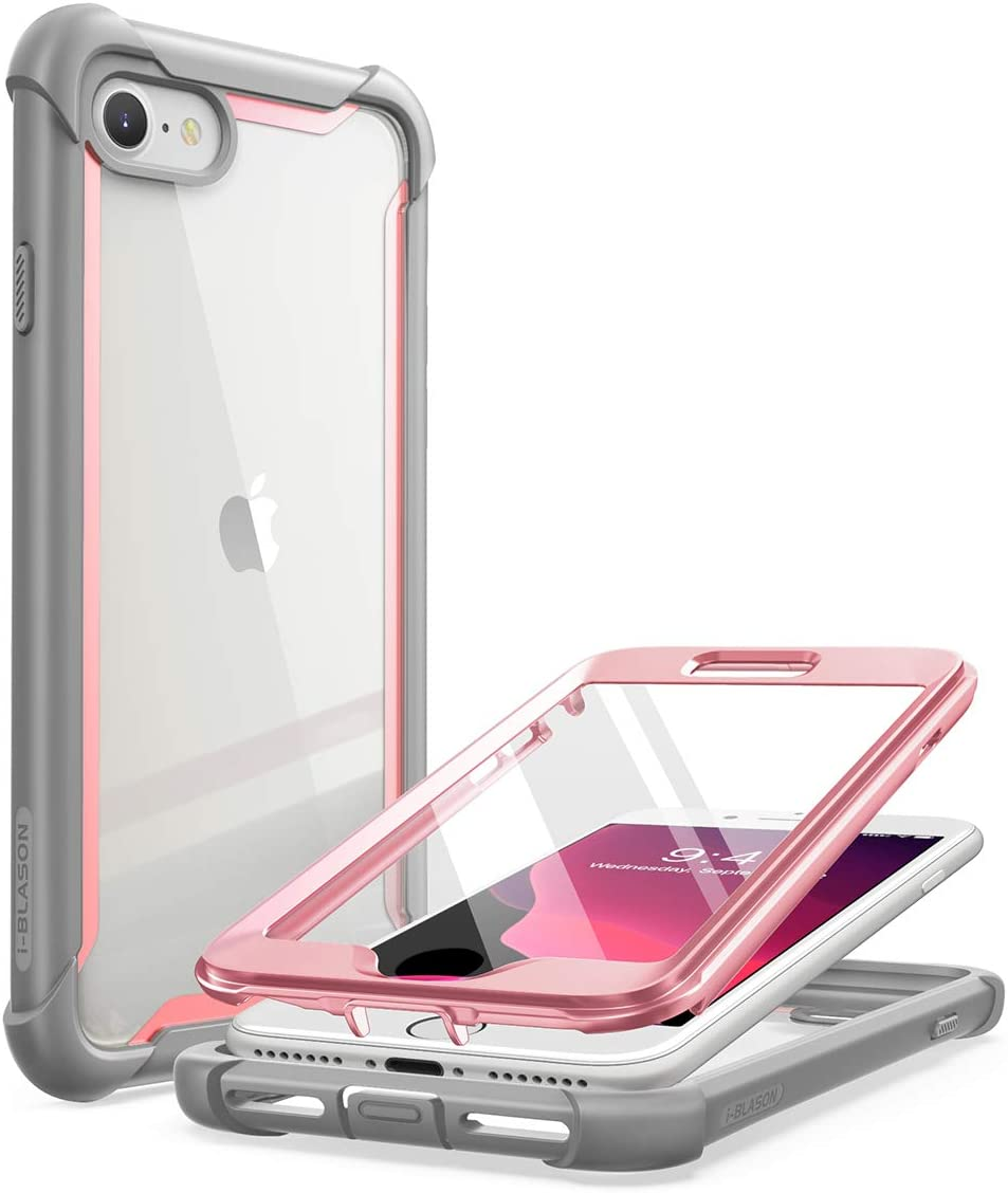 i-Blason Ares Clear Series Designed for iPhone SE 2020 Case/iPhone 7 Case/iPhone 8 Case, [Built-in Screen Protector] Full-Body Rugged Clear Bumper Case for iPhone SE 2020/ iPhone 8/ iPhone 7 (Pink)