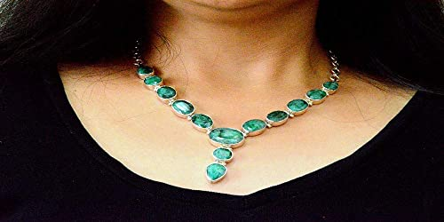 HandMade Necklace Alpacca Metal with Malachite stone /& Ruby