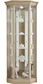 Mirror Back & Spotlight HOME Corner Display Cabinet Oak Effect 7 Glass Shelves
