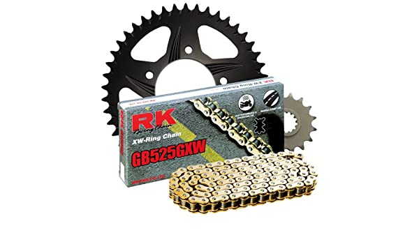RK Racing Chain 2108-044AK Black Aluminum Rear Sprocket and GB525GXW Chain OE Replacement Kit