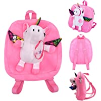 Unicorn School Backpack, ELECDON Cute Fluffy Pink Unicorn Bag with Rainbow Effect School Bag, Rucksack, Any Custom Name…