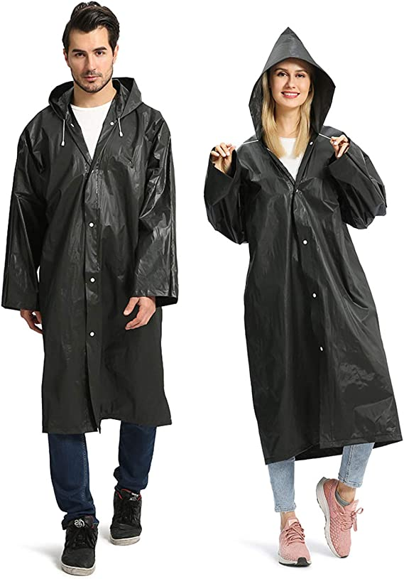 Kaptin Disposable Emergency Raincoat for Adults,Portable Waterproof Rain Poncho with Hook for Camping Hiking Outdoor Concert