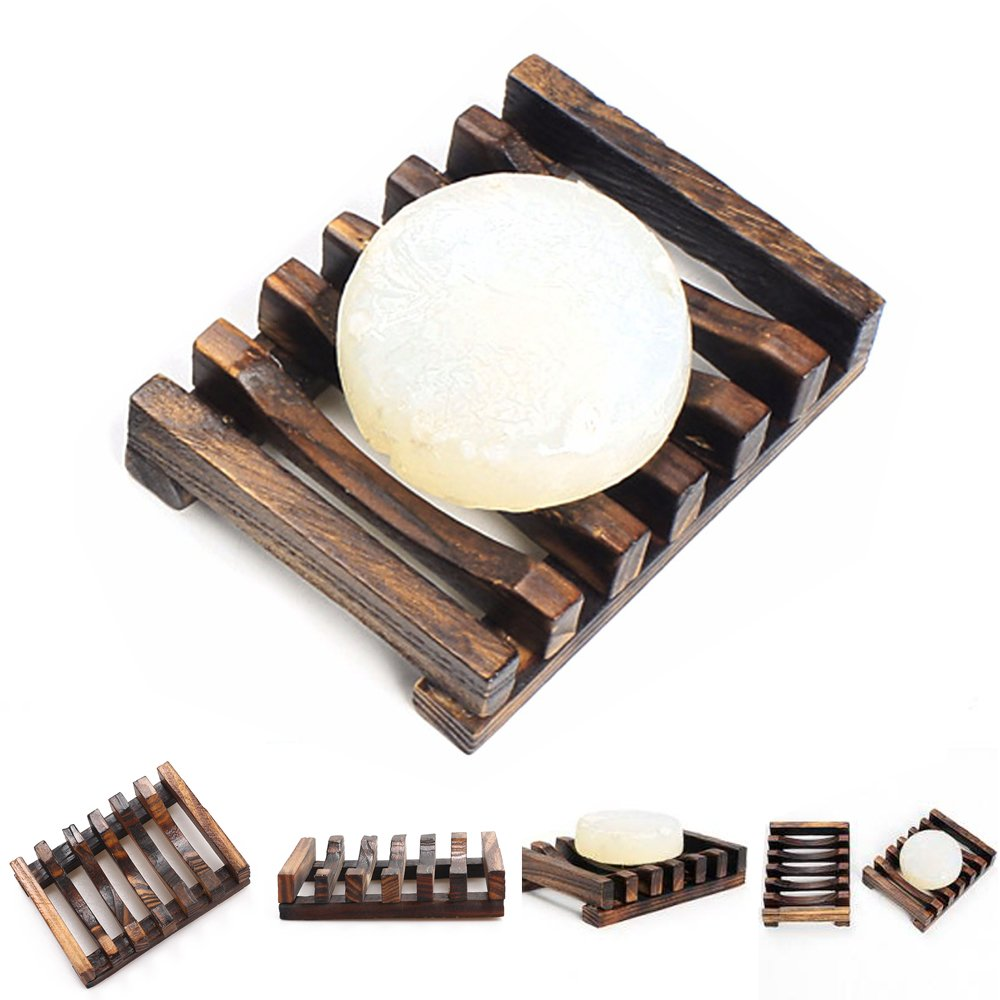 Brand New 2 x Wooden Soap Dish Bath Shower Holder Soap Case for Bathroom The Best Kingdom