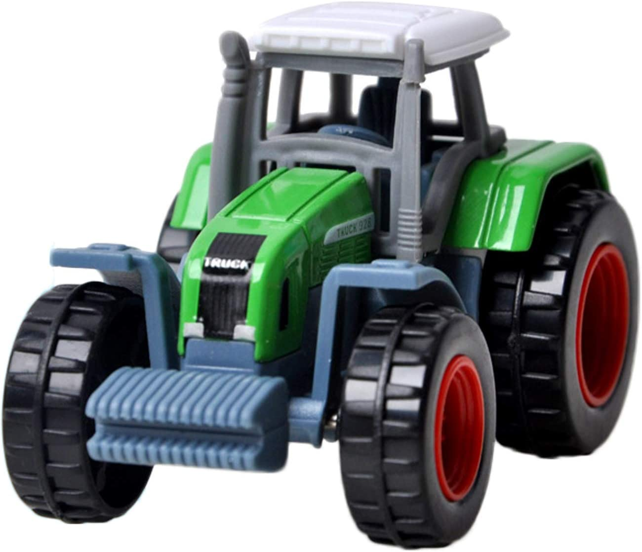 Beetest Farm Vehicles Toys 4pcs Mini Cute Alloy Farm Tractor Trailer Toys Vehicle Play Set for Boys Kids Style B