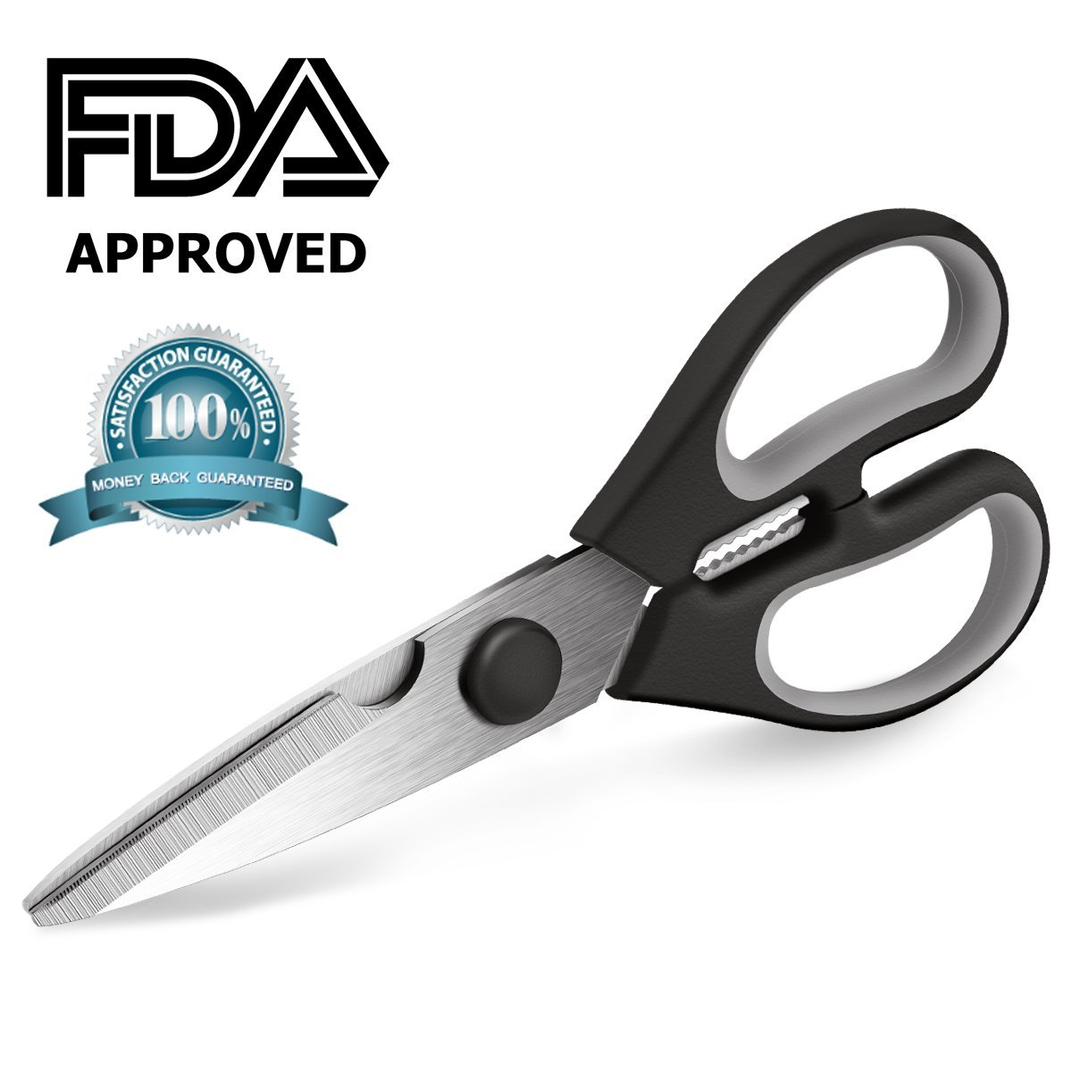 Kitchen Scissors Black, Ultra Sharp Multi-functional Kitchen Shears Come Apart Heavy Duty Non-slip Handle Shears for Cutting Meat, Poultry, Fish, Vegetable