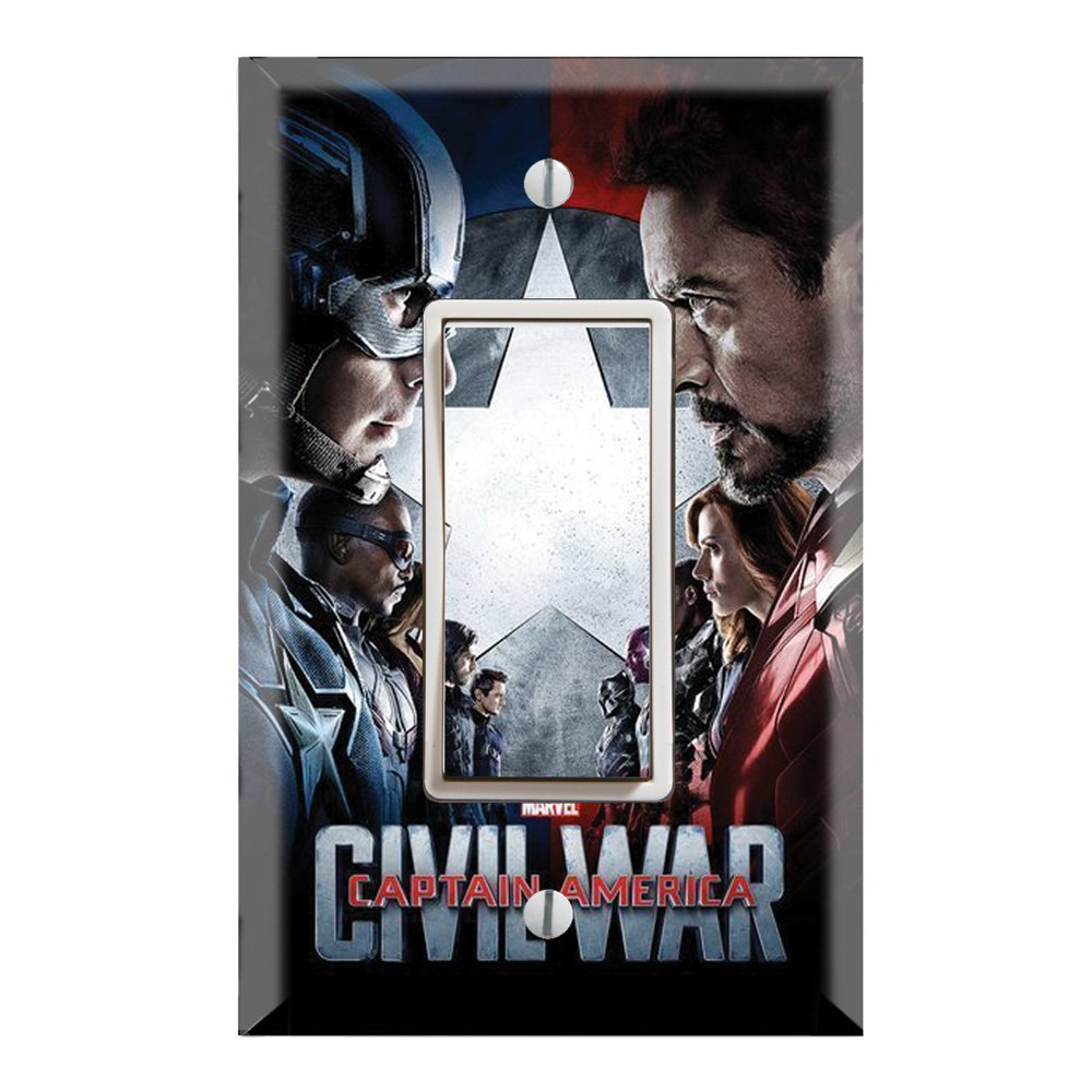 Single Rocker Wall Switch/Outlet Cover Plate Decor Wallplate - Superheroes Captain America Civil War