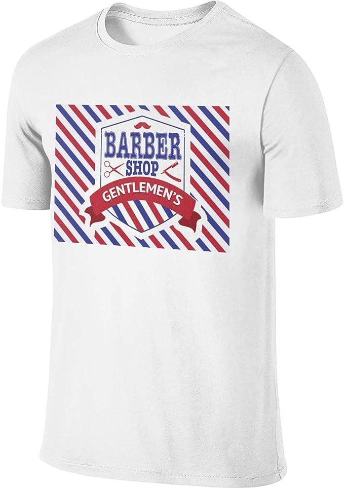 Barber Shop - Camiseta Deportiva de Manga Corta para Hombre, algodón, diseño Moderno Blanco Blanco L: Amazon.es: Ropa y accesorios