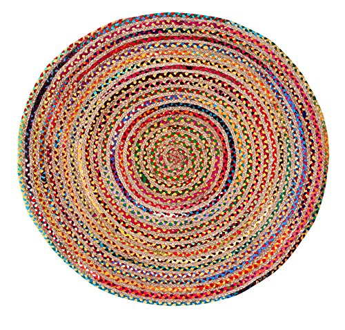 Jute Multi Chindi Round Braided, Hand Woven Reversible, Multi Colored Indian Mat Recycled Rug, Boho Decorative Rug for Kitchen, Living Room, Bedroom Colors May Vary- 48 RNd
