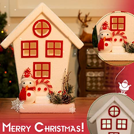 Vovomay Christmas Decorations House Lights Snow House Window