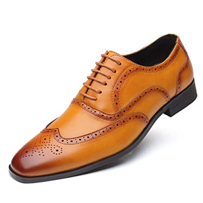 Brogue Uomo Pelle Scarpe Stringate Basse Oxford Derby Business Elegante Scarpe di Cuoio Vintage Matrimonio Derbi Nero Marrone Giallo 38 48 EU