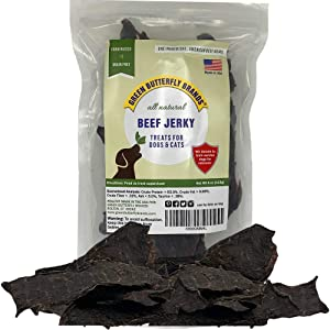 Green Butterfly Brands Dog Jerky Treats – Premium American Beef – Dog Treats Made in USA Only. All Natural – Grain Free, No Preservatives – Beef Jerky for Dogs & Cats – Irresistible Training Treat