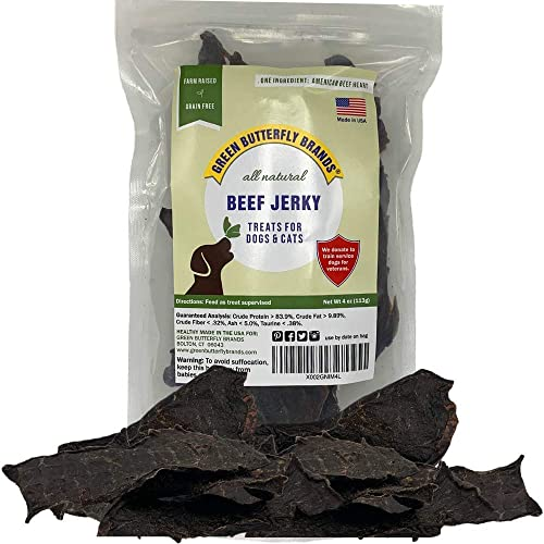 Green Butterfly Brands Dog Jerky Treats Premium American Beef Dog Treats Made in USA Only. All Natural Grain Free, No Preservatives Beef Jerky for Dogs Cats Irresistible Training Treat