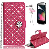 LG G3 Case – Sunroyal Bling 3D Handmade Diamond Glitter PU Leather Wallet Flip Case Cover with Bling Rose Magnetic & Card Holder Pouch [Stand ] with Metal Wrist Strap + Glass Screen Protector + Bow Anti Dust Plug For LG G3 (D855) - Red