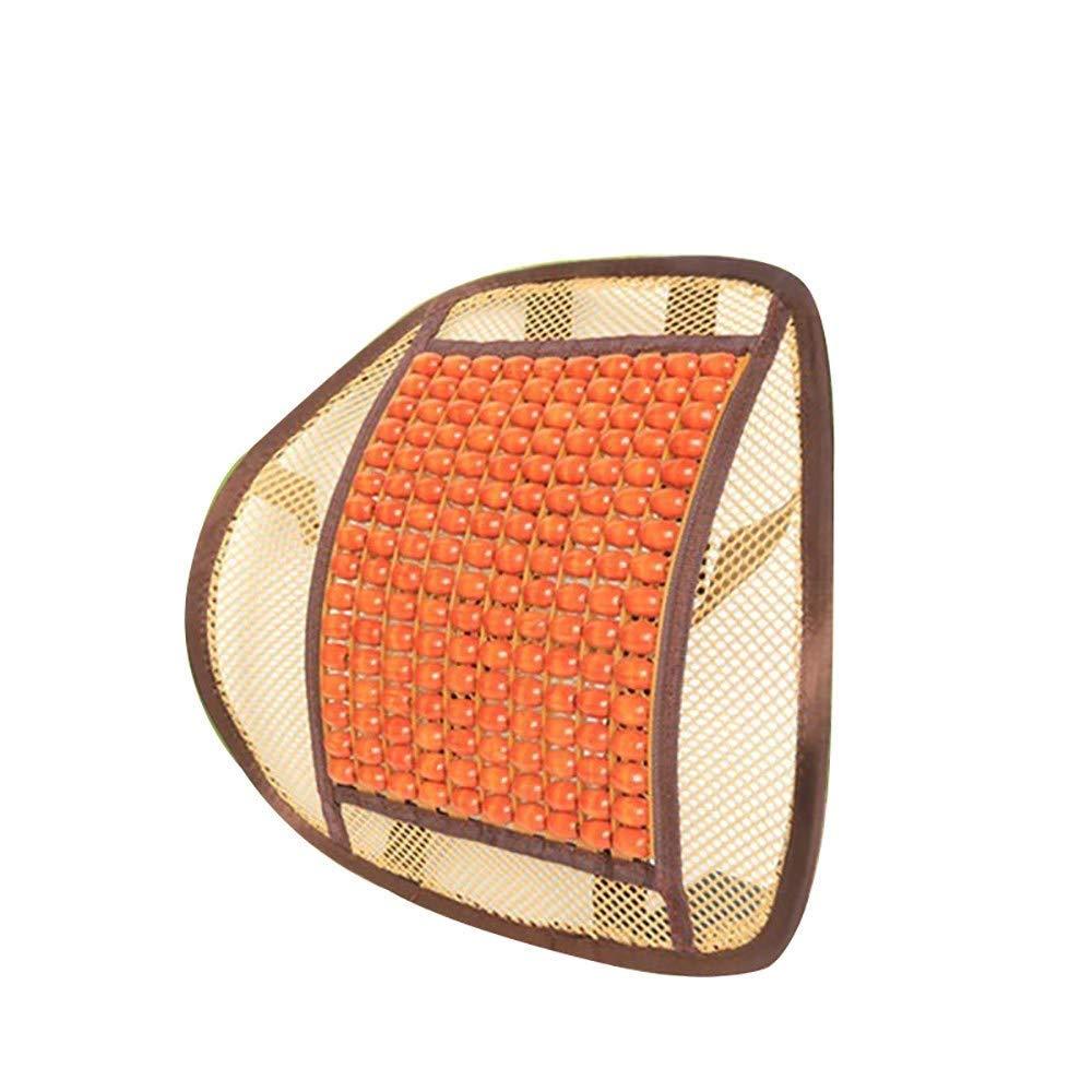 Lqqzq Cushion Car Summer Wooden Beads Four Seasons Ventilation Breathable Massage Waist Support/Office Car Seat Back Cushion (2 Pieces) Cushion (Color : Orange)