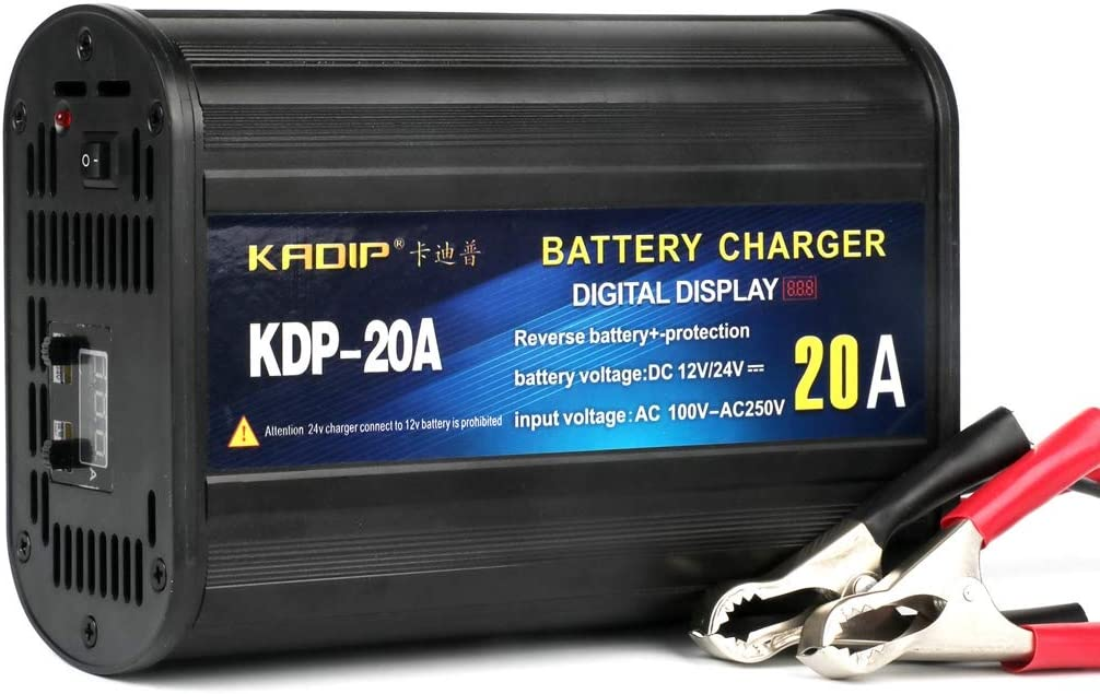 20A Intelligent LCD Display Battery Charger with Repair LanPerro 12V 24V Car Battery Charger Maintain And Jump Start Voltage Adjustable for Various Vehicle