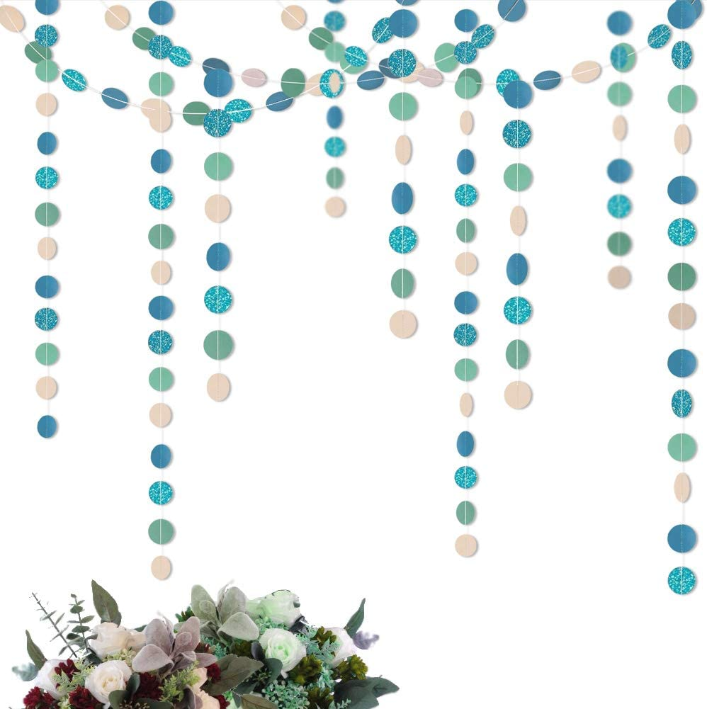 Cheerland Dusty Blue Pink Green Circle Garland for Wedding Party Decoration Elegent Hanging Circle Dots Streamer Backdrop Banner Decor for Birthday Baby Shower
