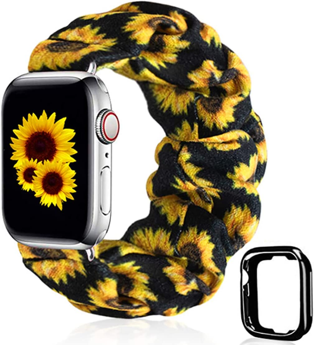 Scrunchie Watch Band for Apple Watch by Kraftychix,Cute Soft Scrunchy Watch Band Elastic Strap Compatible/Replacement with Iwatch 38mm 40mm / 42mm 44mm Series 1-5 (Sunflower, 38mm/40mm)