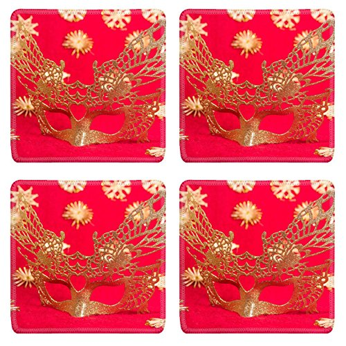 Luxlady Natural Rubber Square Coasters IMAGE ID: 23986879 Carnival mask Christmas gold silver New year red (Italian Carnival Costume Ideas)