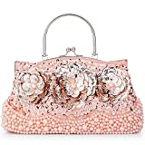 LONGBLE Women's Vintage Style Beaded Sequined Sheetmetal Flowers Evening Bag Wedding Party Handbag Clutch Purse Kissing Lock (Pink 2)