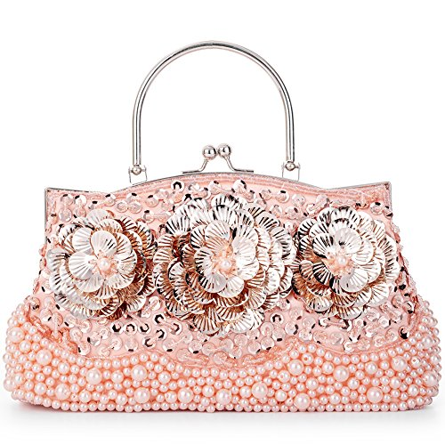 LONGBLE Women's Vintage Style Beaded Sequined Sheetmetal Flowers Evening Bag Wedding Party Handbag Clutch Purse Kissing Lock (Pink (Beaded Decorative Evening Clutch Purse)