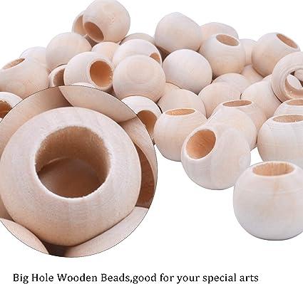 Jdesun 200 Piezas de Bolas Maderas Naturales Cuentas Redondas Abalorios de Madera para Las Decoraciones Hechas a Mano Joyer/ía