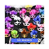 Lot of 50 Mixed Costume Mask Masquerade Mardi Gras Venetian Wedding Quince Party 7'' wide